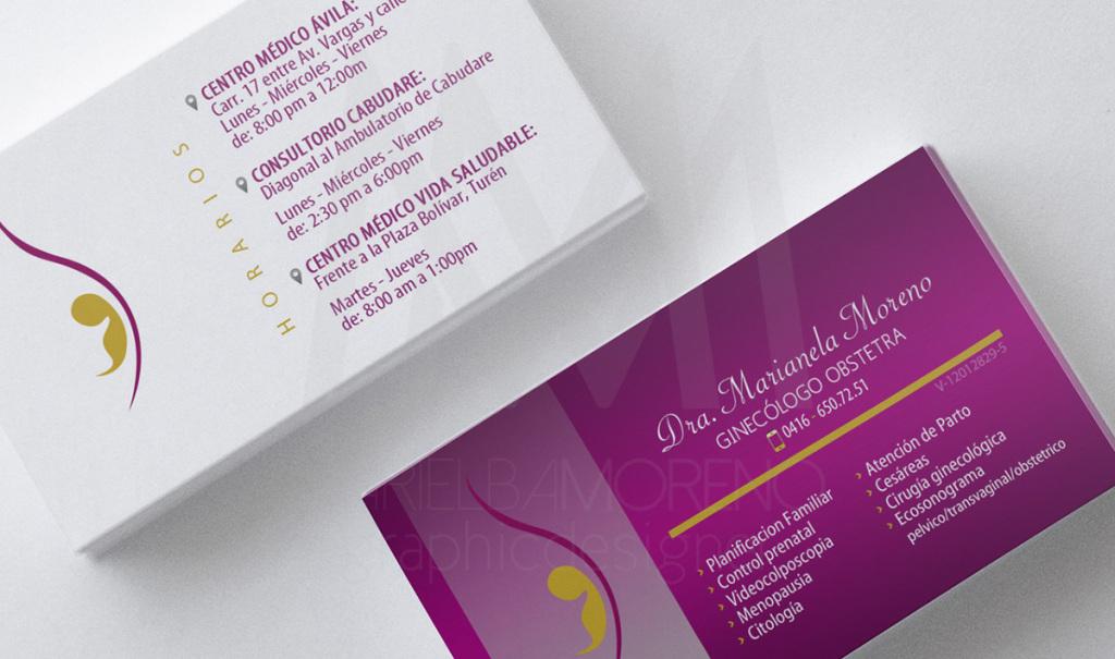 Dra. Marianela Moreno - Tarjeta doble cara