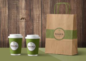 Empaques de la empresa Shaka Food - Diseño por Marielba Moreno Diseño Gráfico